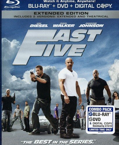 Fast Five [WS] [Slipsleeve] [Rated/ Not Rated Versions] [Blu-ray/ DVD/ Digital Copy Combo]