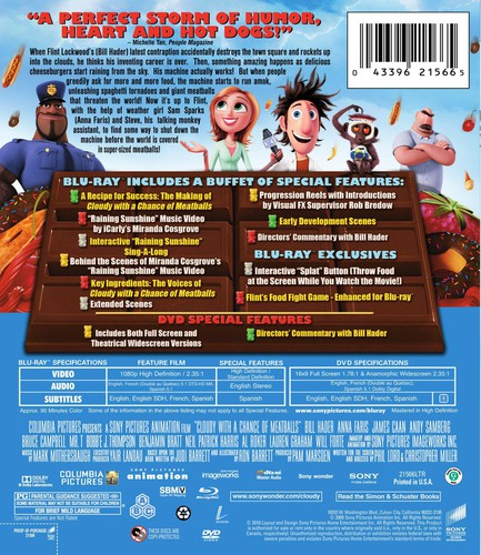 Cloudy With A Chance Of Meatballs [WS] [Blu-Ray/ DVD Combo] [Digital Copy]