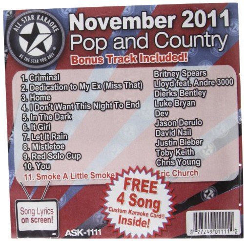 Karaoke: November 2011 Pop and Country Hits