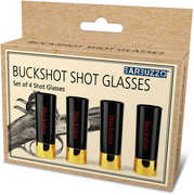 Barbuzzo 12 Gauge Shotgun Shell Buckshot Plastic Shotglasses 4 pieceSet