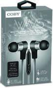 Coby CVE-130-SLV Wavs Metal Tangle Free Earbuds W/ Mic