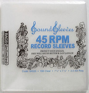 S4525 Poly 2.5Mil 45RPM Record Sleeves-100 Count