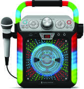 Singing Machine SML682BTBK Groove Qube Bluetooth Karaoke System withLED Disco Lights and Wired Microphone - Black