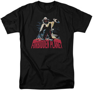 """Forbidden Planet """"Robby And Woman"""" on Black (Adult Regular Fit Short Sleeve T-Shirt)"""