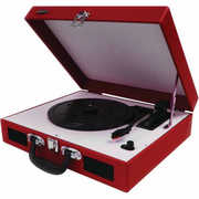 Jensen JTA-410 Turntable with Speakers (Red)