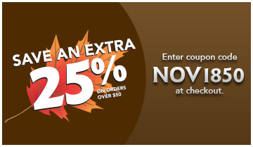 Save an extra 25% on orders over $50. Enter coupon code: NOV1850