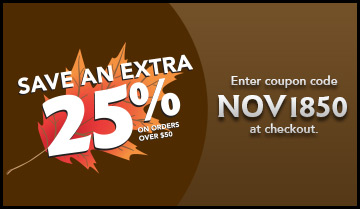 Save an EXTRA 25% with coupon code NOV1850 at checkout