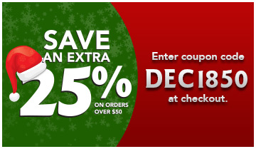 Save an extra 25% on orders over $50. Enter coupon code: DEC1850