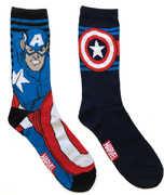 Captain America Black Men's /  Unisex 2 Pair 2PK Casual Crew Socks Men's 6-12