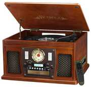 Victrola ITVS600B 8 in 1 Music Center Bluetooth CD 3 Speed TurntableCassette AM FM Mahogany