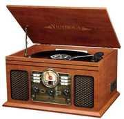 Innovative Technology RITVS200B Refurbished 6 in 1 Music CenterBluetooth CD 3 Speed Turntable AM FM Mahogany
