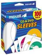 Maxell 190133 Blank Media, CD/ DVD Paper Sleeve 100 Pack White