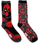 Hypnotic Hats Ltd Black Deadpool Men's 2 Pair 2PK Casual Crew Socks