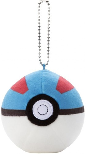 Takaratomy Pokemon - 3 Mocchi Mocchi Pokeball Key - TakaraTomy Pokemon - 3 Mocchi Mocchi Pokeball Keychain - Great BallPlush