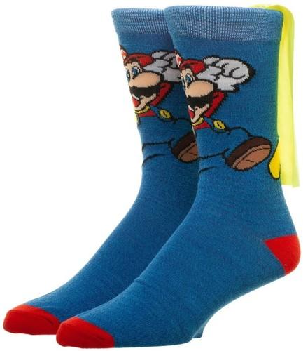 Nintendo Super Mario Cape Crew Socks Men's 6-12 - Nintendo Super Mario Brothers Cape Unisex Crew Socks Men's Shoe Size 6-12