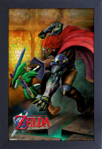 Zelda Link vs. Ganondorf 11X17 Framed Print - Zelda Link vs. Ganondorf 11x17 Framed Gel Coat Print