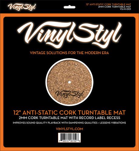 "- Vinyl StylT 12"" Anti-Static Cork Turntable Mat"