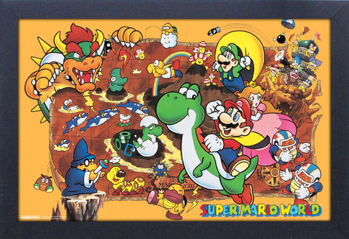 Super Mario World 11X17 Framed Gel Coat Print - Super Mario World 11x17 Framed Gel Coat Print