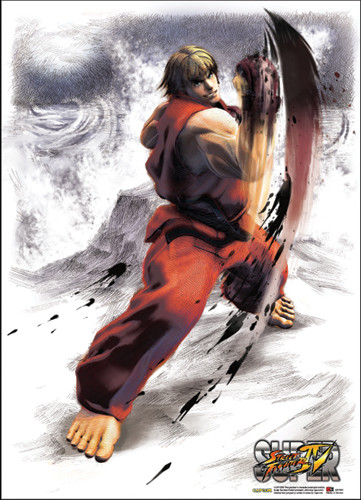 Super Street Fighter IV Ken Wallscroll - Super Street Fighter Iv Ken Wallscroll