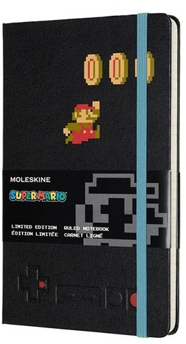 - Moleskine Limited Edition Notebook, Super Mario, Mario in Motion /Black, Large, Ruled Hard Cover (5 x 8.25) (Nintendo)