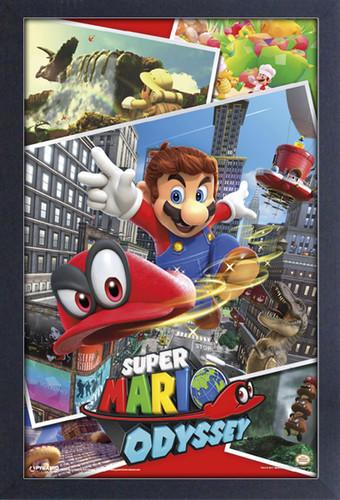 Super Mario Odyssey 11X17 Framed Gel Coat Print - Super Mario Odyssey Collage 11x17 Framed Gel Coat Print