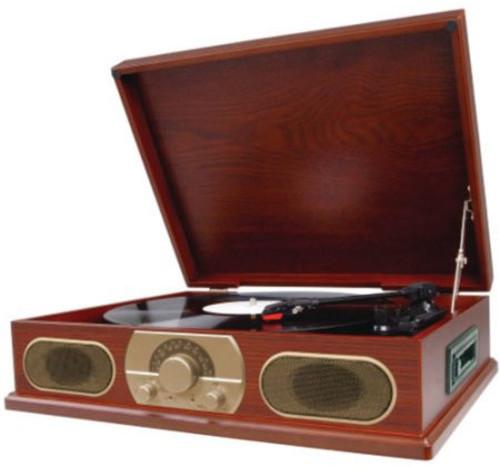 Studebaker Sb6052 Wooden Turntable with Am/Fm Radi - Studebaker Wooden Turntable SB6052