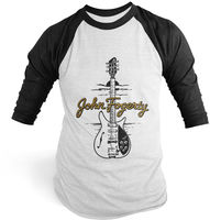 John Fogerty - John Fogerty 1969 Rickenbacker 325 Sunburst CCR ACME Guitar Black & White Baseball T-Shirt (Medium)