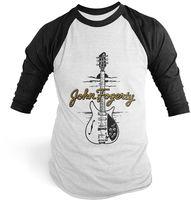 John Fogerty - John Fogerty 1969 Rickenbacker 325 Sunburst CCR ACME Guitar Black & White Baseball T-Shirt (XL)