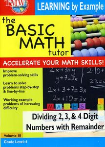Basic Math Tutor Dividing 2,3, & 4 Digit Numbers With Remainder
