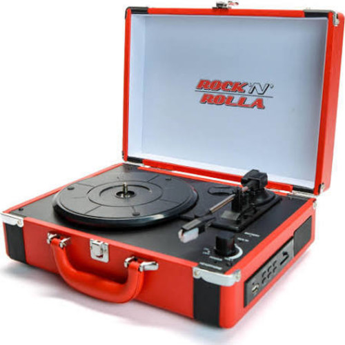 - Rock 'n' Rolla Premium Rechargeable Portable Briefcase Turntable w/Bluetooth - Red /Black