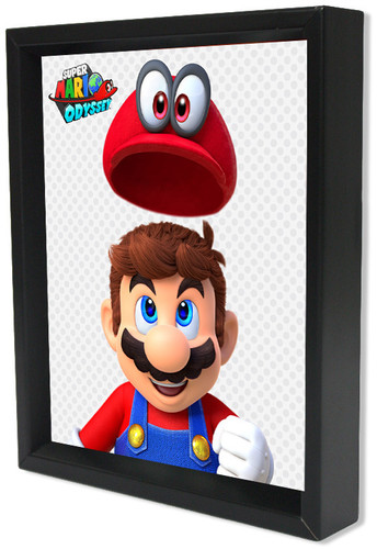 Super Mario Odyssey Hat 8X10 Framed 3D Lenticular - Super Mario Odyssey Flying Hat 8x10 Framed 3D Lenticular