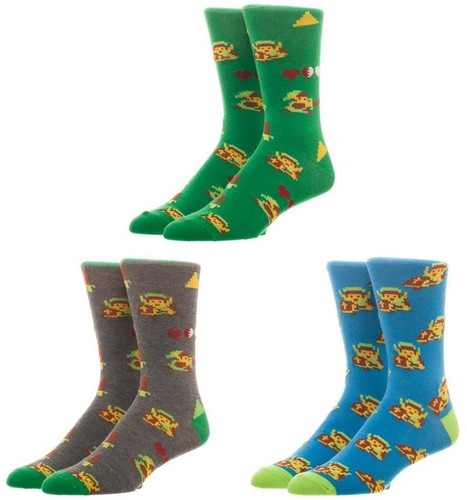 Nintendo Zelda Crew Socks 3 Pack Set - Nintendo Legend Of Zelda Crew Socks 3 Pack Set Men's 8-12