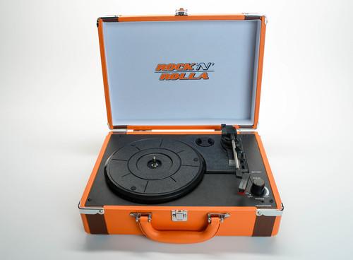 - ROCK'N'ROLLA Premium Rechargeable Portable Briefcase Turntable - Orange