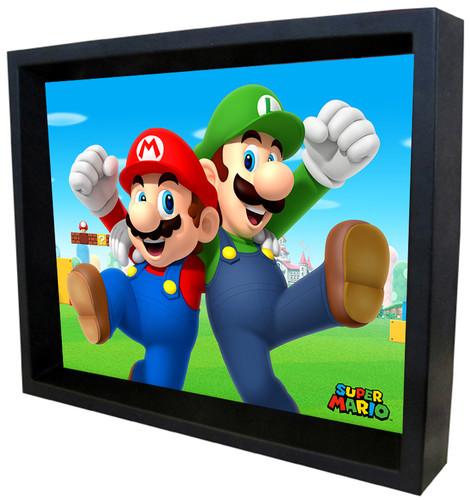 Super Mario Mario & Pals 8X10 Framed 3D Lenticular - Super Mario Mario & Luigi Pals 8x10 Framed 3D Lenticular