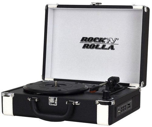 Rock'N'Rolla Premium Rechargeable Portable Briefca - Rock 'n' Rolla Premium Rechargeable Portable Briefcase Turntable with Bluetooth - Blk/Wht