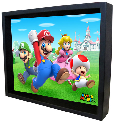 Super Mario Group Run 8X10 Framed 3D Lenticular - Super Mario Group Run 8x10 Framed 3D Lenticular