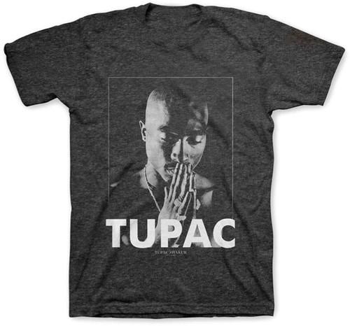 2pac - Tupac Shakur Praying Charcoal Unisex Short Sleeve T-shirt Large