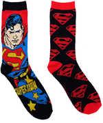 Superman Men's /  Unisex Black & Red 2 Pair 2PK Casual Crew Socks