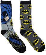 Batman Black & Grey Men's /  Unisex 2 Pair 2PK Casual Crew Socks