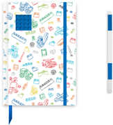 LEGO White Journal with Blue 4x4 Brick with Blue Gel Pen