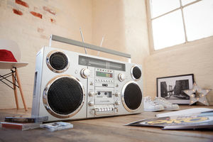 GPO Brooklyn Bluetooth Boombox 80W CD Cassette FM USB Recording Silver
