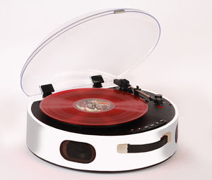 Rock 'N' Rolla UFO. - Portable Rechargeable Bluetooth USB Vinyl RecordPlayer Turntable - White