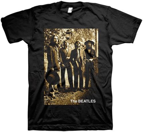 The Beatles - The Beatles Sepia 1969 Last Photo Session Black Unisex Short Sleeve T-Shirt Large