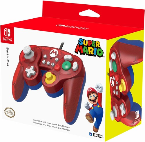 - HORI Battle Pad Gamecube Style Controller - Mario Edition for Nintendo Switch