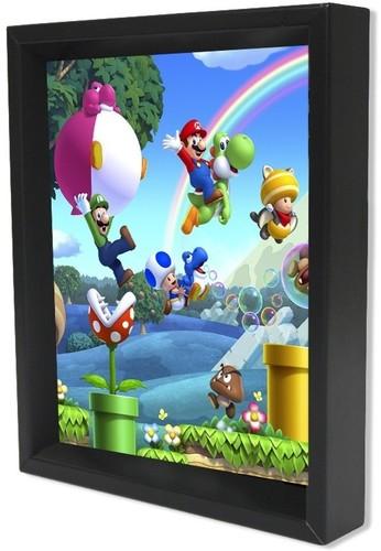 Super Mario Mario Bros U 8X10 Framed 3D Lenticular - Super Mario Mario Bros U 8x10 Framed 3D Lenticular