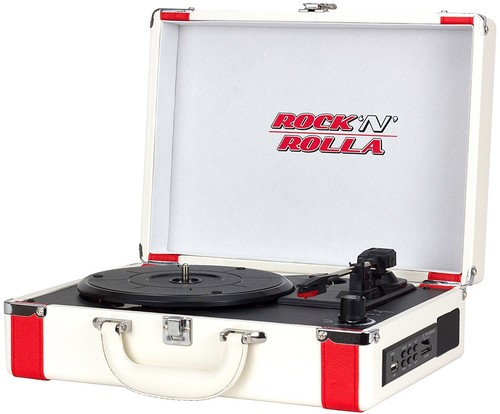 - Rock 'N' Rolla Premium - Portable Bluetooth USB Vinyl Record Player Turntable - White/Red