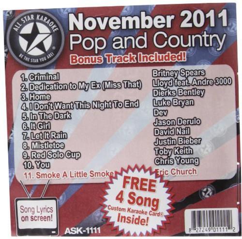 Karaoke: November 2011 Pop and Country Hits