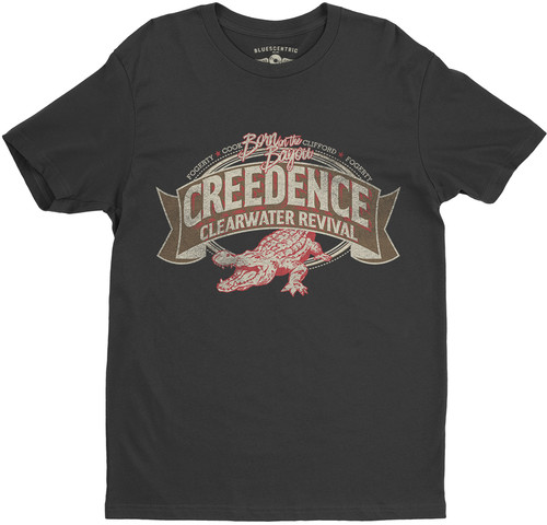 Creedence Clearwater Revival - Creedence Clearwater Revival Born On The Bayou Alligator - Fogerty Cook Clifford Fogerty Black Lightweight Vintage Style T-Shirt