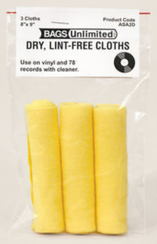 Bu Scd-64 4 Mil Poly CD Sleeve-No Flap-100 Count - Bags Unlimited ASA-2D - Groovy Record Cleaning Cloth 3 Pack - Microfiber - 8 X 9 Inches (Yellow)