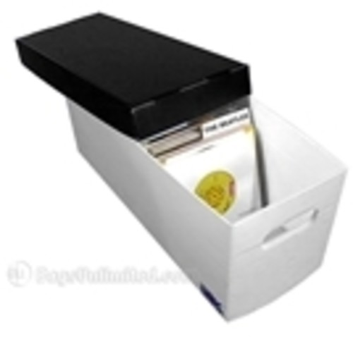 Bags Unlimited Plastic Corrugated Record Boxes Hol - Bags Unlimited X45225CP - 7 Inch 45 RPM Record Storage Box - Holds up to 225 Records (White/Black)